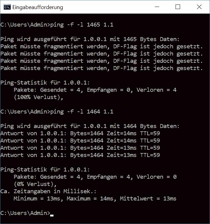 Screenshot: ping unter Windows fragmentiert mit DF-Flag