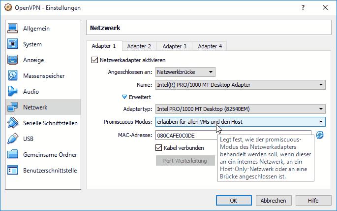 VirtualBox Netzwerk Promiscuous-Mode Einstellungen