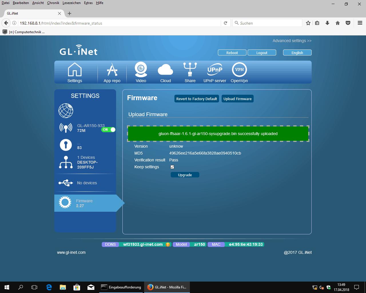 den GL.iNet Router mit Freifunk Firmware flashen