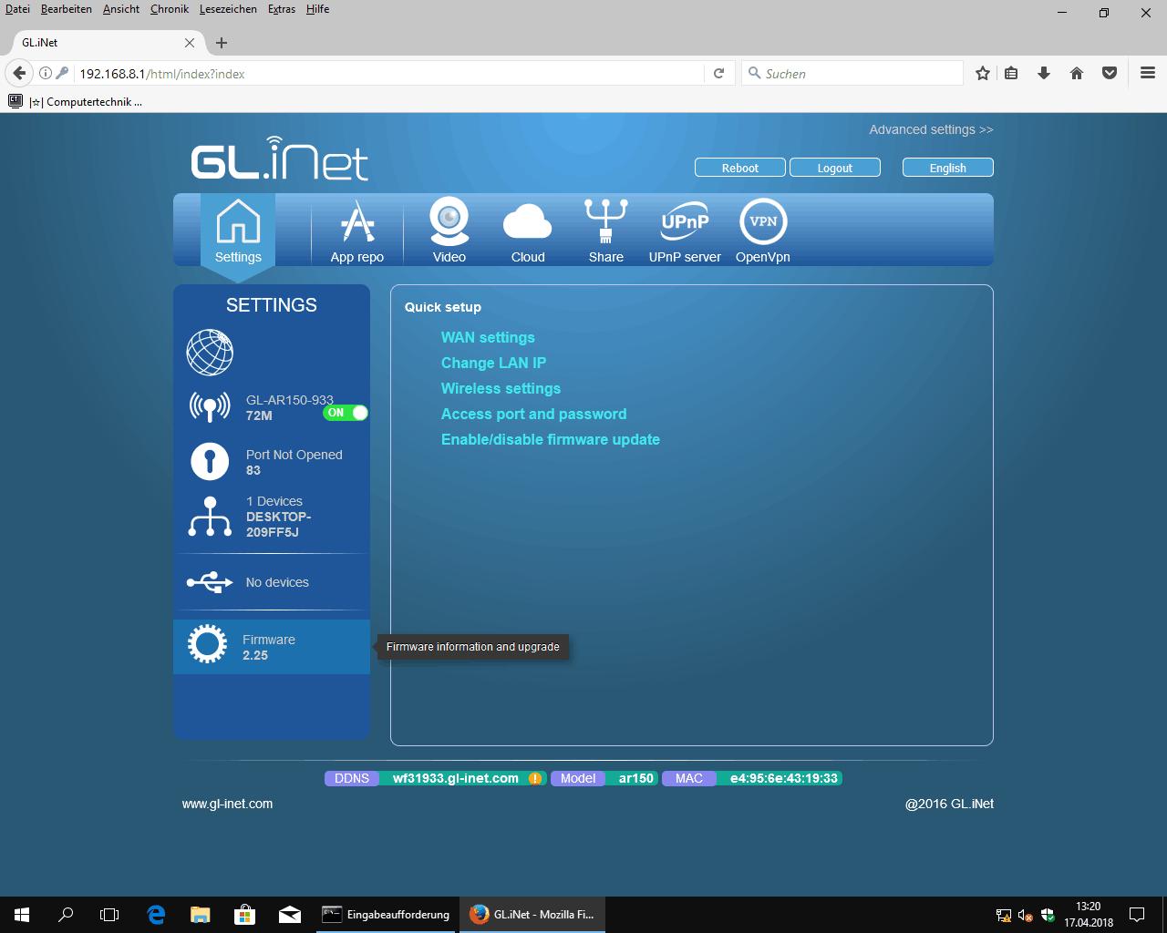 GL.iNet AR150 Router stock OpenWrt WebGUI