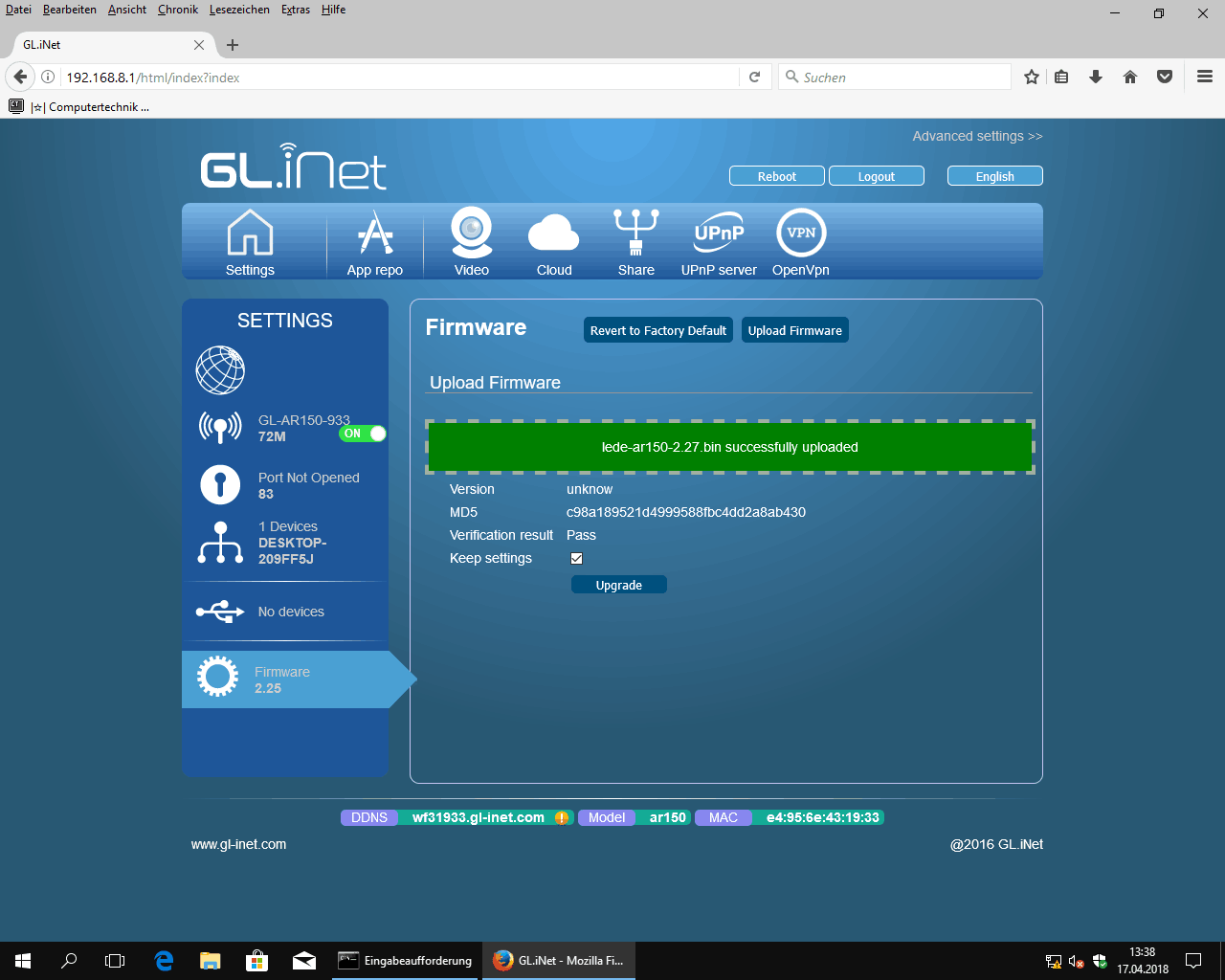 GL.iNet update GL-AR150 with new LEDE firmware
