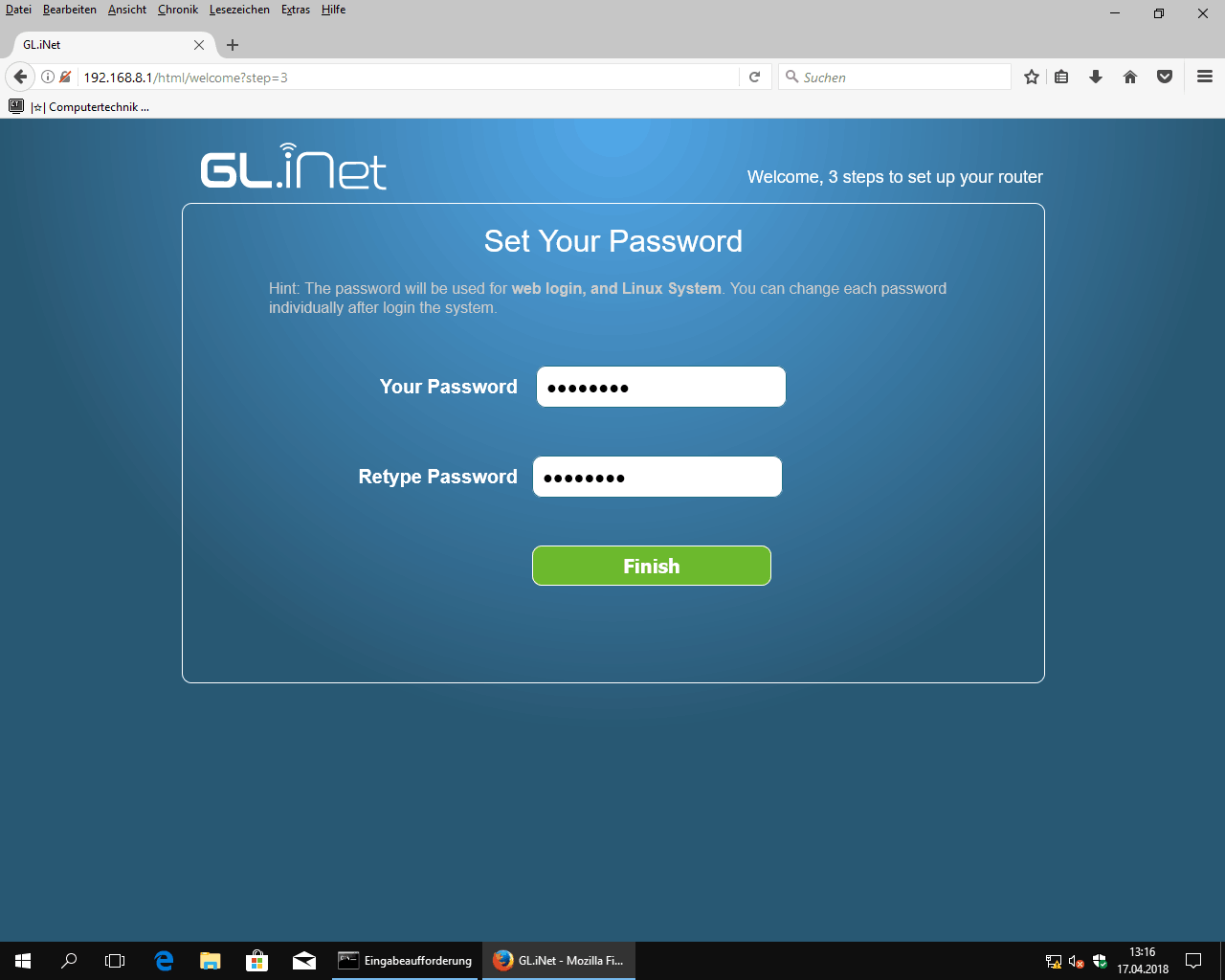 GL.iNet Router Webconfig set router/root/ssh password