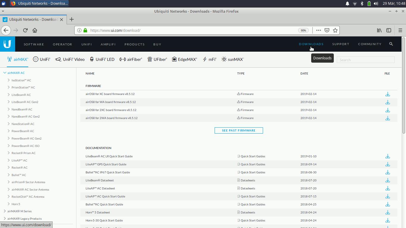 Ubiquiti UniFi® AC-Mesh/UAP-AC-M stock Firmware zum downgrade herunterladen